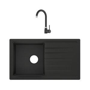 Cooke & Lewis Carvi Black Composite quartz 1 Bowl Kitchen sink & tap set