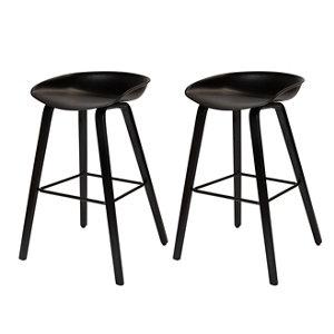 GoodHome Chimayo White & natural Bar stool Pack of 2
