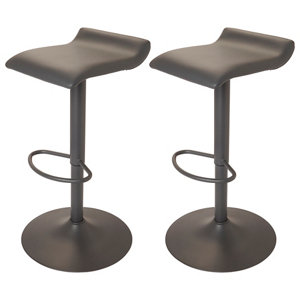 GoodHome Karonda Grey Adjustable Swivel Bar stool Pack of 2