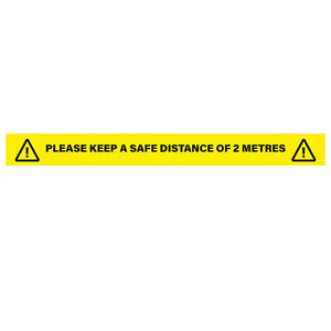 Image of Social Distancing 2M Distance Text Self-adhesive Floor sticker (L)900mm (W)900mm Pack of 5