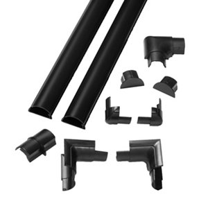 Image of D-Line Black 30mm Semi-circle Trunking length (L)2m Pack of 2
