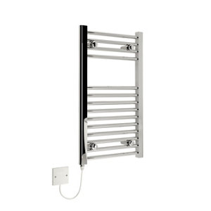 Image of Kudox 150W Electric Silver Towel warmer (H)700mm (W)400mm