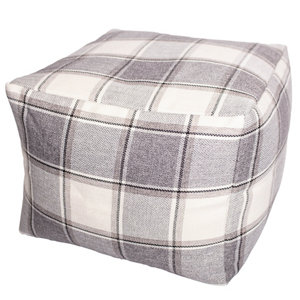 Image of Alderney Checked Bean bag cube Grey & lilac
