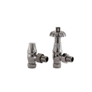 Image of Arroll UK18 Black Nickel-plated Angled Thermostatic Radiator valve