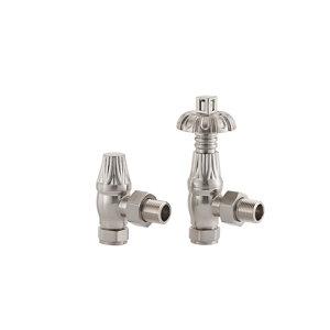 Image of Arroll UK18 Brushed Nickel-plated Angled Thermostatic Radiator valve