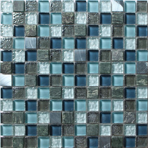 Image of Brixton Blue Stone effect Glass & marble Mosaic tile sheets (L)150mm (W)110mm