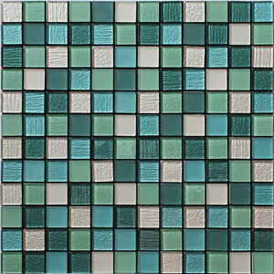 Image of Acapulco Green & white Glass & marble Mosaic tile sheets (L)150mm (W)110mm