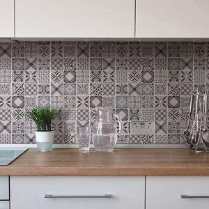 Image of 3D Spiro Black & white Marble Mosaic tile (L)300mm (W)300mm