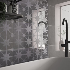 Opulence Smoke grey Semi-gloss Star Porcelain Wall tile  (L)600mm (W)300mm