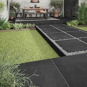 Image of Slate Black Matt Stone effect Porcelain Outdoor Floor tile Pack of 2 (L)600mm (W)600mm