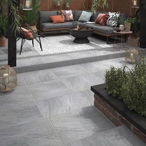 Image of Nordic Medium grey Matt Stone effect Porcelain Outdoor Floor tile Pack of 2 (L)600mm (W)600mm