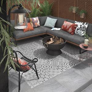 Image of Nordic décor Grey Matt Geo pattern Stone effect Porcelain Outdoor Floor tile Pack of 2 (L)600mm (W)600mm