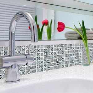 Image of 3D Spiro Grey & white Moroccan geometric Glass 3x3 Mosaic tile (L)300mm (W)300mm