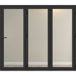 Image of Crystal Clear Glazed Grey Aluminium RH External Folding Bi-fold Door set (H)2104mm (W)2104mm