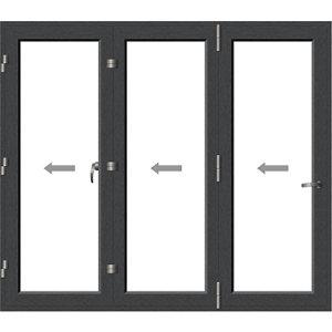 Image of Crystal Clear Glazed Grey Aluminium LH External Folding Bi-fold Door set (H)2104mm (W)2404mm