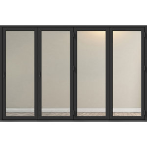 Image of Crystal Clear Glazed Grey Aluminium RH External Folding Bi-fold Door set (H)2104mm (W)3004mm