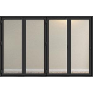 Image of Crystal Clear Glazed Grey Aluminium LH External Folding Bi-fold Door set (H)2104mm (W)3004mm