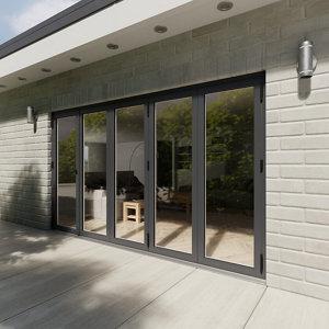 Image of Crystal Glazed Grey Aluminium RH External Bi-fold Door set (H)2104mm (W)3604mm