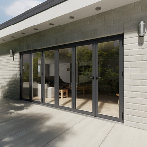 Image of Crystal Glazed Grey Aluminium LH External Bi-fold Door set (H)2104mm (W)4204mm