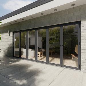Image of Crystal Glazed Grey Aluminium LH External Bi-fold Door set (H)2104mm (W)4804mm