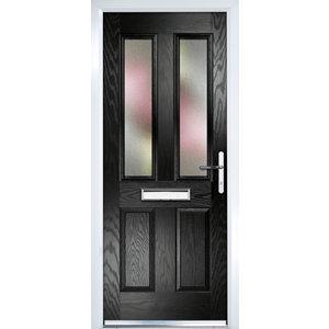 Image of Crystal Frosted Glazed Black Composite LH External Front Door set (H)2055mm (W)920mm