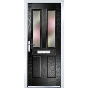 Image of Crystal Frosted Glazed Black Composite RH External Front Door set (H)2055mm (W)920mm