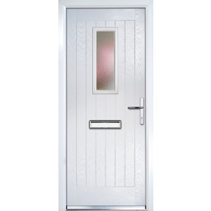 Image of Crystal Frosted Glazed Cottage White Composite LH External Front Door set (H)2055mm (W)920mm