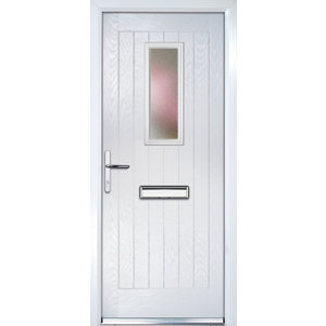 Image of Crystal Frosted Glazed Cottage White Composite RH External Front Door set (H)2055mm (W)920mm