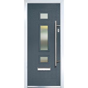Image of Crystal 3 panel Frosted Glazed Grey Composite LH External Front Door set (H)2055mm (W)920mm