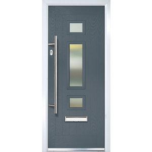 Image of Crystal 3 panel Frosted Glazed Grey Composite RH External Front Door set (H)2055mm (W)920mm