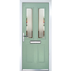 Image of Crystal 4 panel Frosted Glazed Green Composite RH External Front Door set (H)2055mm (W)920mm
