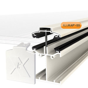 Image of Alukap SS White Aluminium Low profile Glazing bar (L)4.8m (W)60mm (T)90mm