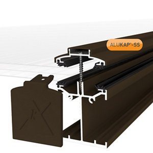 Image of Alukap SS Brown Aluminium Low profile Glazing bar (L)4.8m (W)60mm (T)90mm
