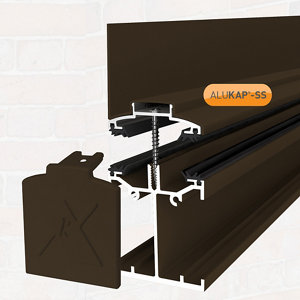 Image of Alukap SS Brown Aluminium Low profile Glazing bar (L)4.8m (W)60mm (T)140mm