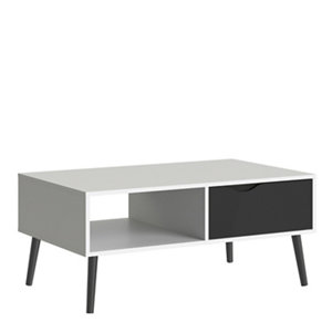 Image of Ebru White & black Painted 1 Drawer Coffee table (H)433mm (W)987mm (D)602mm