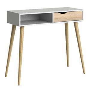 Image of Ebru Matt white oak effect Painted 1 Drawer Desk (H)898mm (W)1030mm (D)435mm