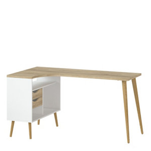 Image of Ebru Matt white oak effect Painted 2 Drawer Desk (H)758mm (W)1451mm (D)810mm