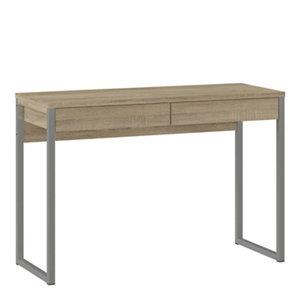 Image of Mali Matt oak effect 2 Drawer Desk (H)765mm (W)1016mm (D)400mm
