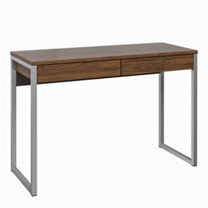 Image of Mali Matt walnut effect 2 Drawer Desk (H)765mm (W)1016mm (D)400mm