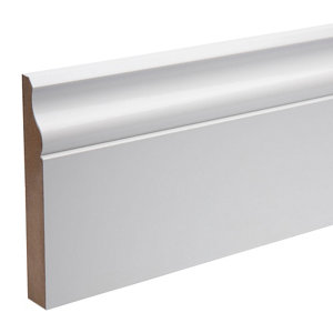 Image of White MDF Ogee Skirting board (L)2.4m (W)119mm (T)18mm