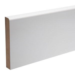 Image of White MDF Rounded Skirting board (L)2.4m (W)119mm (T)18mm