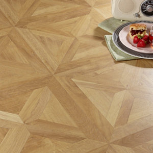 Image of Colours Staccato Natural Oak parquet effect Laminate flooring 1.86m² Pack