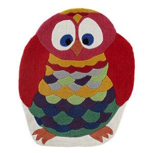 Image of Colours Kori Owl Blue & red Rug (L)1m (W)0.8m
