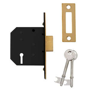 Image of Diall 64mm Polished Brass effect Metal 3 lever Deadlock