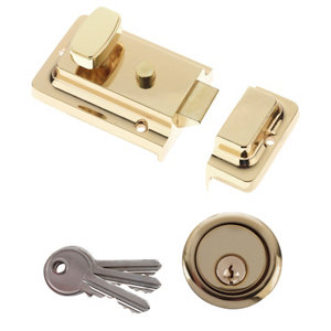 Image of Diall Brass effect Deadlock Night latch (H)62mm (W)90mm