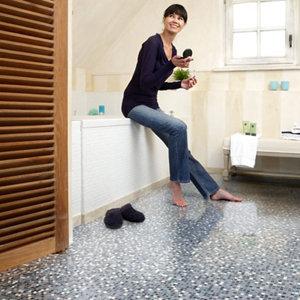 Image of Colours Flutina Blue Mosaic effect Vinyl flooring 6m²