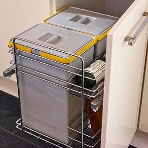 Image of IT Kitchens Grey Rectangular Integrated kitchen bin