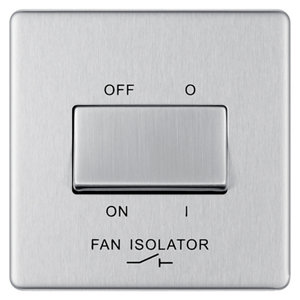 Image of Colours 10A Brushed stainless steel effect Single Fan isolator Switch