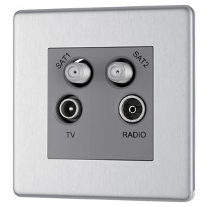 Image of Colours Stainless steel effect Coaxial & satellite socket