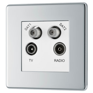 Image of Colours Chrome effect Coaxial & satellite socket